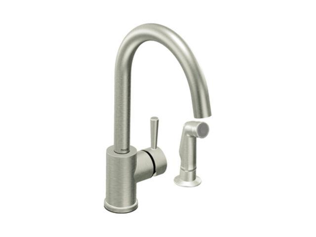 "MOEN 7106CSL 14.03"" Faucet Height Side Sprayer Level classic stainless one-handle high arc kitchen faucet Stainless Steel"