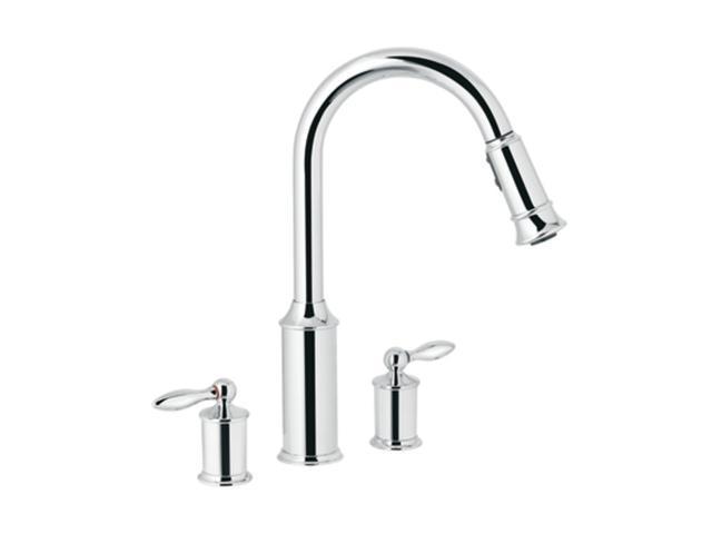 moen 7592c aberdeen chrome two handle high arc pulldown moen 7590c aberdeen polished chrome pullout spray kitchen