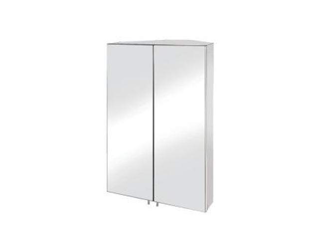 Croydex WC766105YW Avisio Double Door Corner Medicine Cabinet Surface Mount Only in Stainless Steel