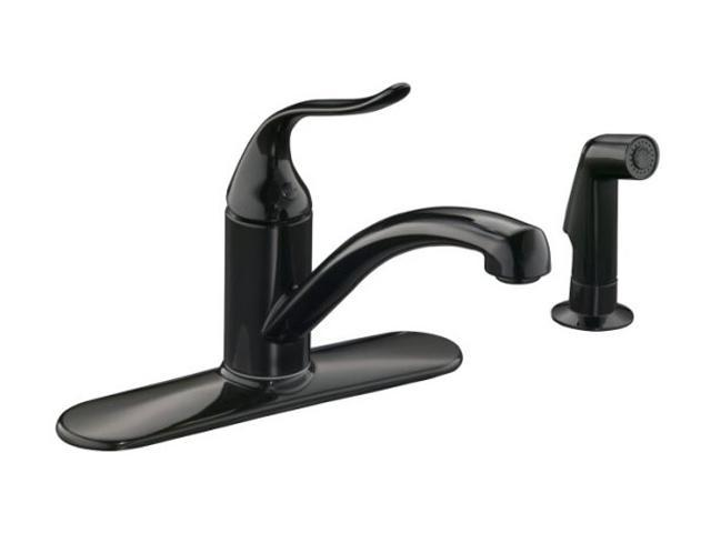 KOHLER K-15072-P-7 Coralais Decorator Kitchen Sink Faucet Black ...
