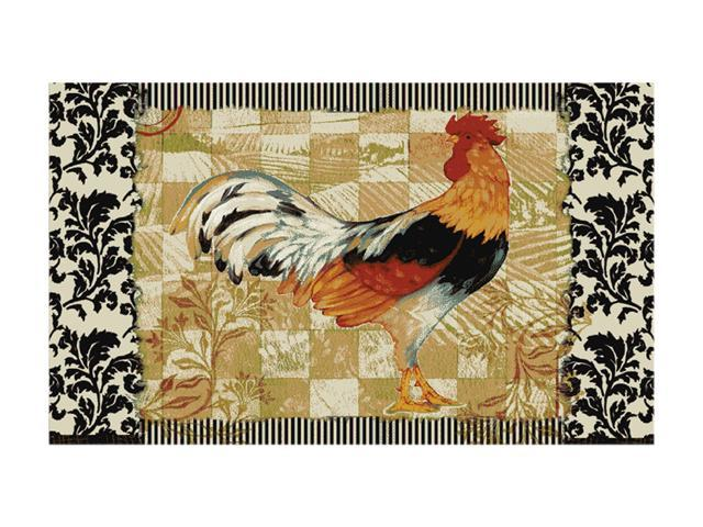 Mohawk Home New Wave Kitchen Bergerac Rooster Neutral Rug Black 30