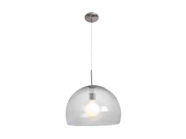 Access Lighting Acrolite Pendant- 1 Light Brushed Steel Finish w/ Clear Prismatic Acrylic Glass