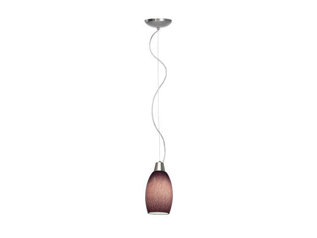 Access Lighting Sydney Swirl Cone Glass Pendant- 1 Light Brushed Steel Finish w/ Plum Cloud Glass