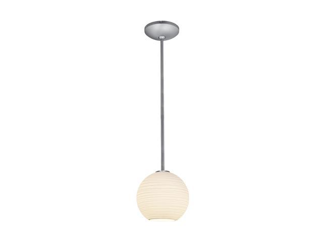 Access Lighting Lantern Pendant- 1 Light Brushed Steel Finish w/ White Lined Glass