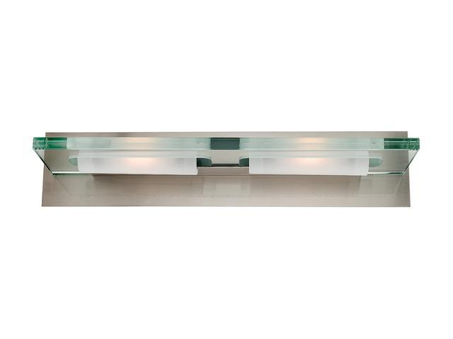 Access Lighting Phoebe Wall & Vanity- 2 Light Brushed Steel Finish w/ 12mm Clear Glass Brushed Steel Bathroom Lighting