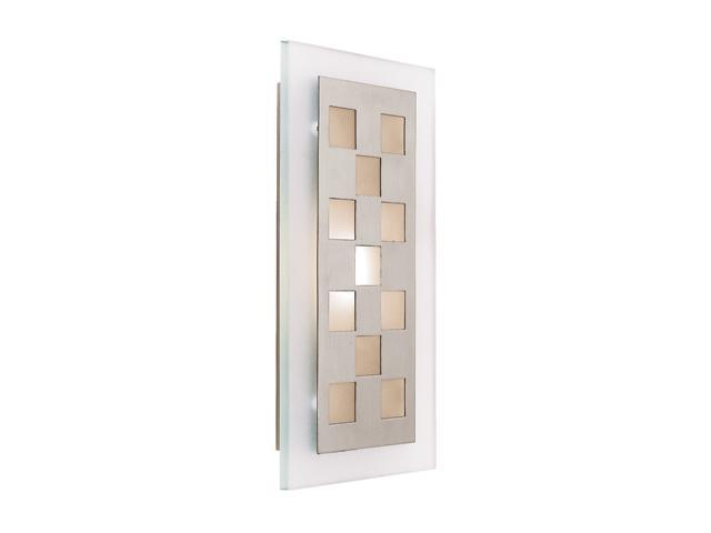 Access Lighting Aquarius Squares Wall Fixture- 1 Light Brushed Steel Finish w/ Frosted Glass
