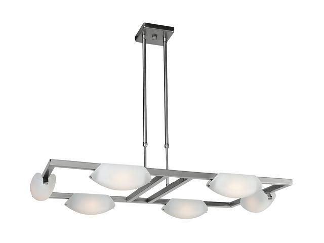 Access Lighting Nido Adjustable Chandelier- 6 Light Matte Chrome Finish w/ Frosted Glass Chrome 63962-MC/FST