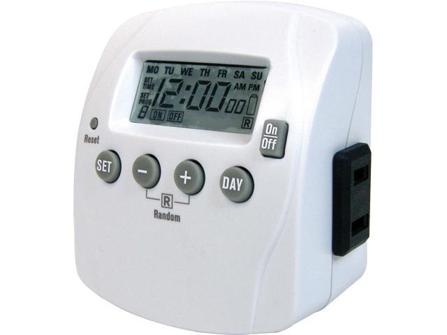 Prime Wire & Cable TND002 1-Outlet Indoor 7-Day Digital Timer w/ 8 Settings