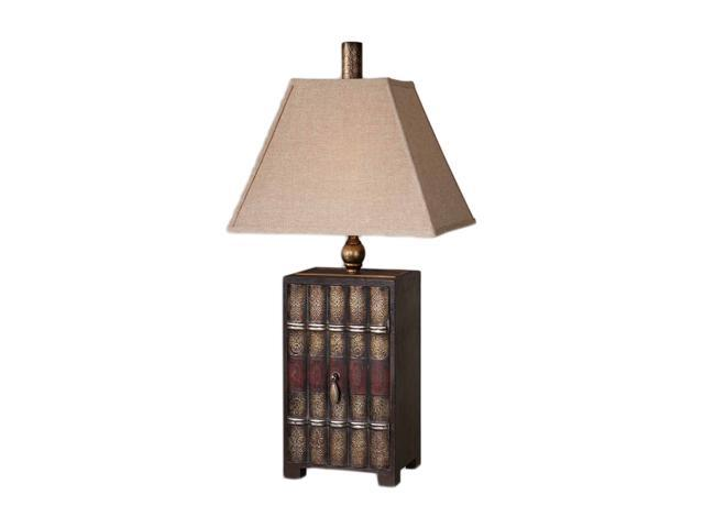 Uttermost Carolyn Kinder Book Collection Table Lamp Embossed faux leather with a burnished wash and antiqued silver-champagne and aged red details