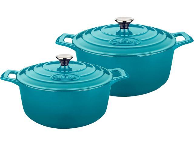 La Cuisine 4 Pc Set Including 2.2 QT and 3.7 QT Round Casseroles w/Lids, Cast Iron