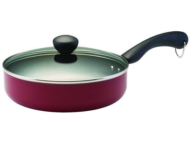 Farberware Dishwasher Safe Nonstick 2.75 qt. Covered Saute in Red