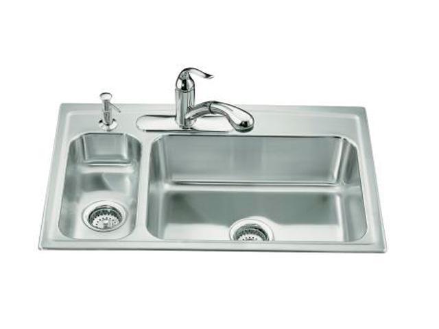 KOHLER K-3347L-3-NA Toccata High/low Self-rimming Kitchen Sink
