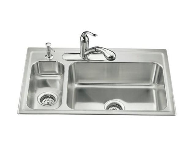 KOHLER K-3347L-4-NA Toccata High/low Self-rimming Kitchen Sink