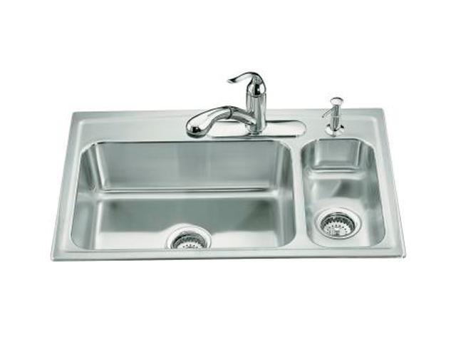 KOHLER K-3347R-3-NA Toccata High/low Self-rimming Kitchen Sink