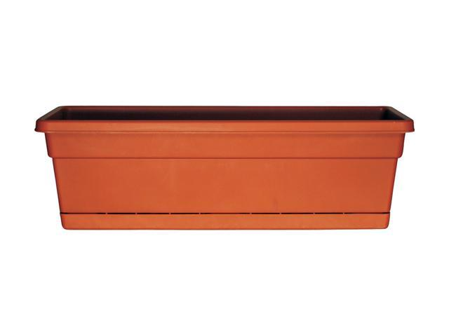 """Dynamic Design 30"""" Terra Cotta Rolled Rim Window Boxes with Attached Trays"""