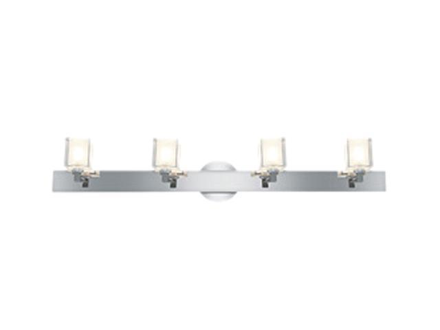 Access Lighting Glase Crystal Chrome Wall/Vanity - 4 Light  Chrome Finish w/ Inner Frosted Crystal Glass Chrome Bathroom ...