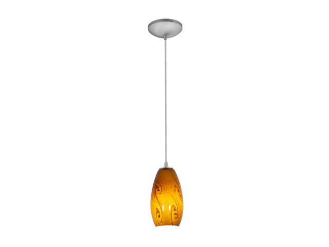 Access Lighting Sydney Inari Silk Glass Pendant - 1 Light Brushed Steel Finish w/ ASKY Glass