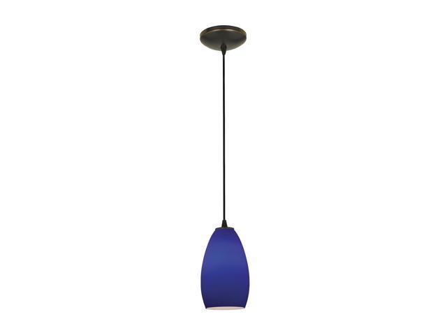 Access Lighting Tali Inari Silk Glass Pendant - 1 Light Oil Rubbed Bronze Finish w/ Cobalt Blue Glass