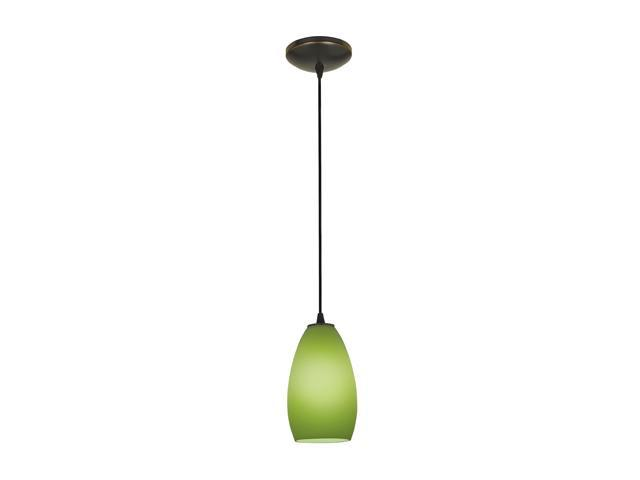 Access Lighting Tali Inari Silk Glass Pendant - 1 Light Oil Rubbed Bronze Finish w/ Light Green Glass