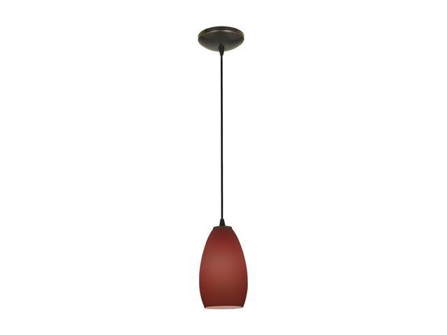 Access Lighting Tali Inari Silk Glass Pendant - 1 Light Oil Rubbed Bronze Finish w/ Plum Glass