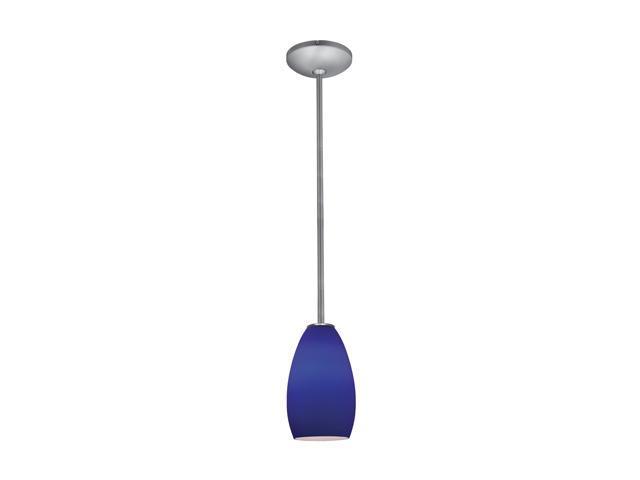 Access Lighting Tali Inari Silk Glass Pendant - 1 Light Brushed Steel Finish w/ Cobalt Blue Glass