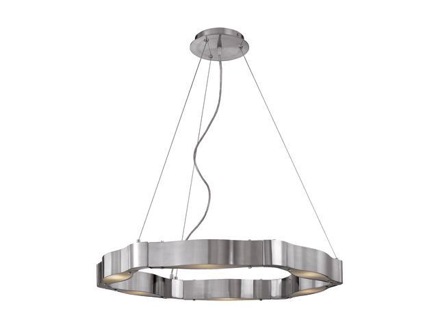 Access Lighting Titanium Cable Chandelier - 6 Light Brushed Steel Finish w/ Frosted Glass Brushed Steel 62317-BS/FST