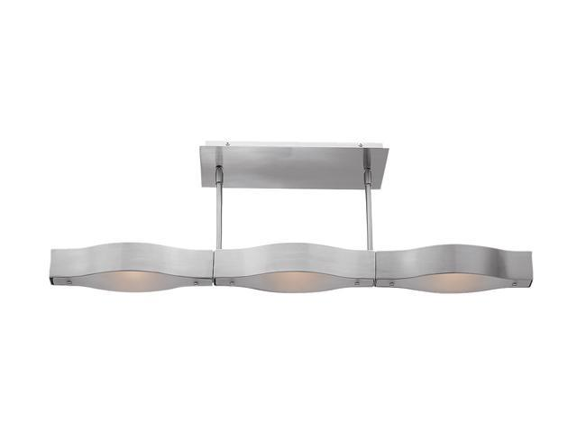 Access Lighting Titanium Semi - 3 Light Brushed Steel Finish w/ Frosted Glass Brushed Steel Semi Flush
