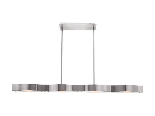 Access Lighting Titanium Semi - 4 Light Brushed Steel Finish w/ Frosted Glass Brushed Steel Semi Flush