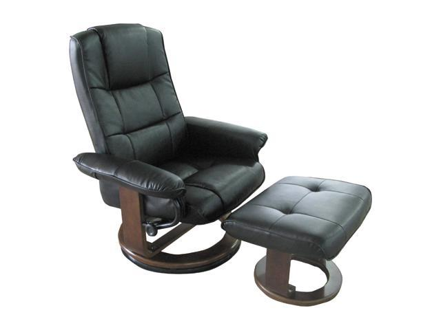 Comfort Chair Black Polyurethane Swivel, Recliner with Ottoman