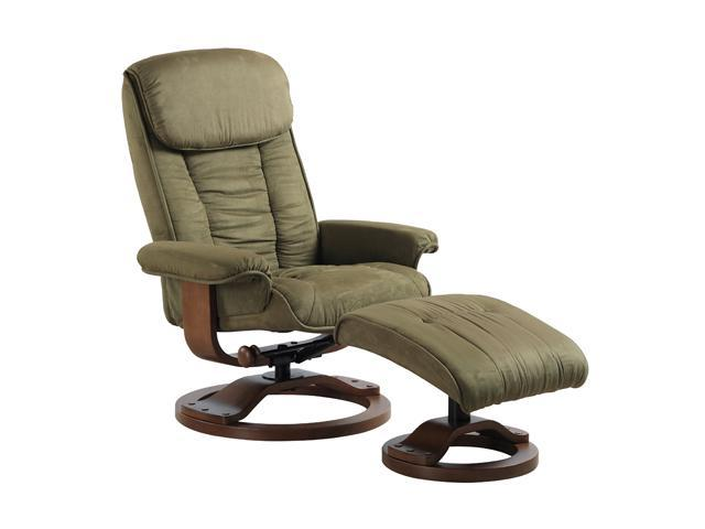 Comfort Chair Sage Green Microfiber Swivel, Recliner with Ottoman