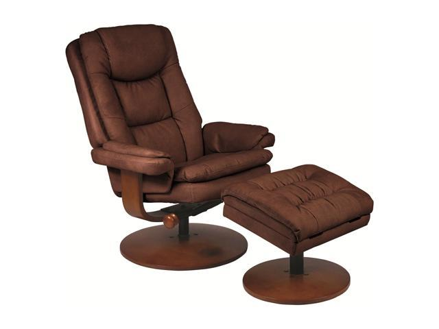 Mac Motion Chairs Chocolate Nubuck Bonded Leather Swivel Recliner With Ottom