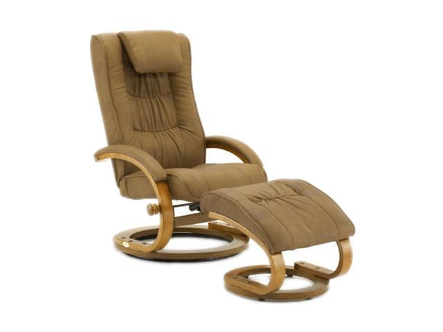 Mac Motion Chairs Saddle Brown Nubuck Bonded Leather Swivel, Recliner with Ottoman