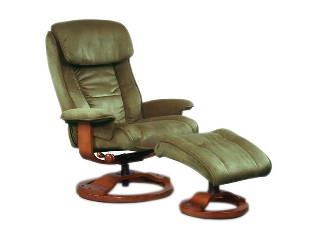 Mac Motion Chairs Sage Green Microfiber Swivel, Recliner with Ottoman