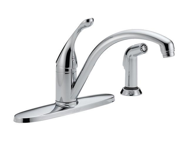DELTA 440-WE-DST Collins Single Handle Water-Efficient Kitchen Faucet w/ Spray Chrome