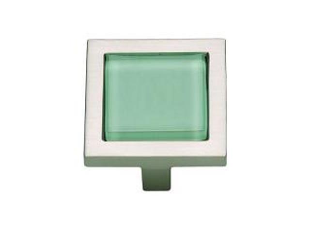 Atlas  230-GR/BRN  Spa Square Cabinet Knob - Green / Brushed Nickel