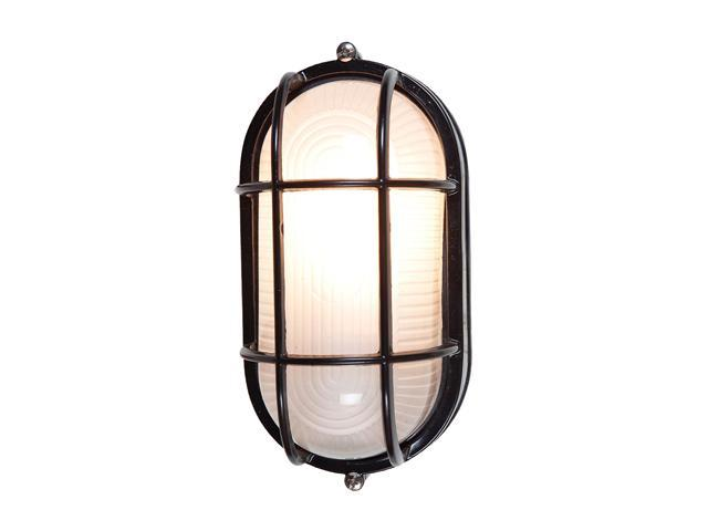 Access Lighting Nauticus Contemporary Black Wet Location Bulkhead - 1 Light Black Finish w/ Frosted Glass