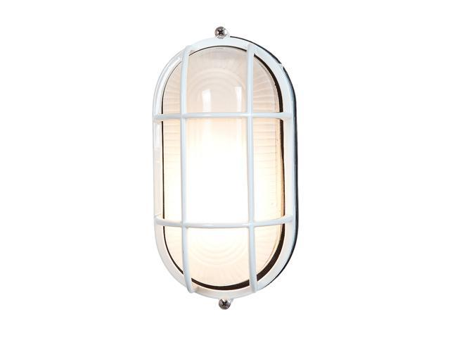 Access Lighting Nauticus Contemporary White Wet Location Bulkhead - 1 Light White Finish w/ Frosted Glass