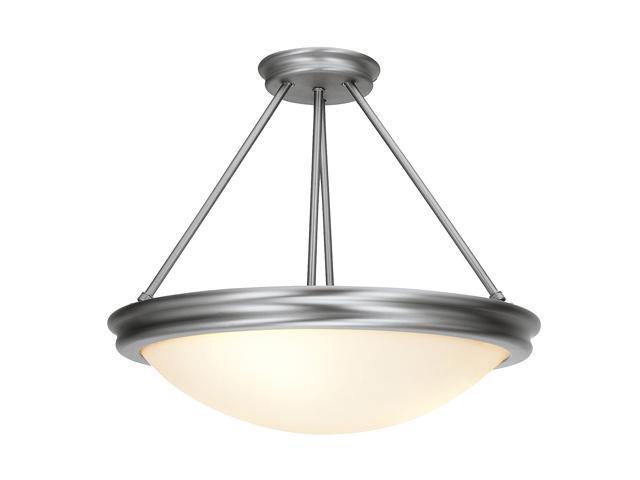 Access Lighting Atom Semi - 3 Light Brushed Steel Finish w/ Opal Glass Brushed Steel Semi Flush
