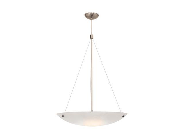 Access Lighting Noya Cable Pendant - 4 Light Brushed Steel Finish w/ Alabaster Glass