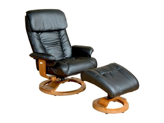 Mac Motion Chairs 819 Black Leather Swivel, Recliner with Ottoman