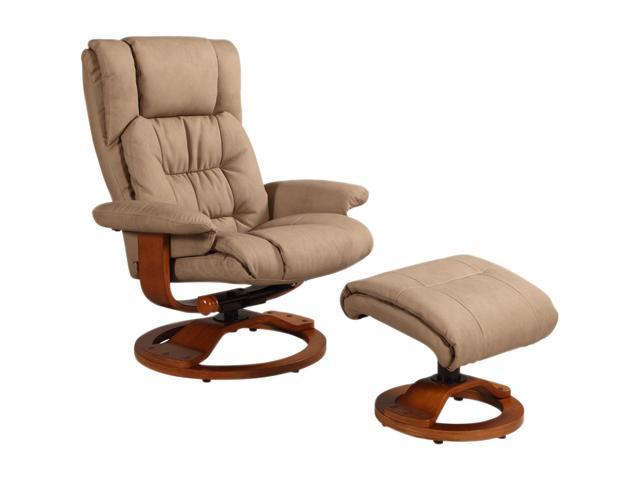 Oslo Collection VINCI Stone Tan Nubuck Bonded Leather Swivel, Recliner with Ottoman