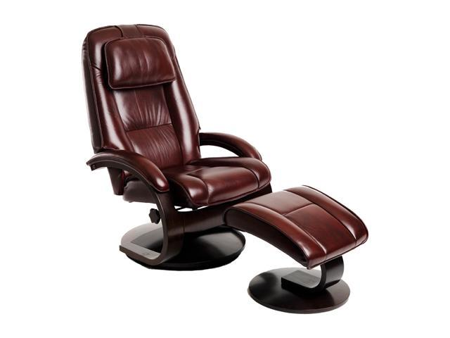 Oslo Collection Bergen Merlot Top Grain Leather Swivel, Recliner with Ottoman