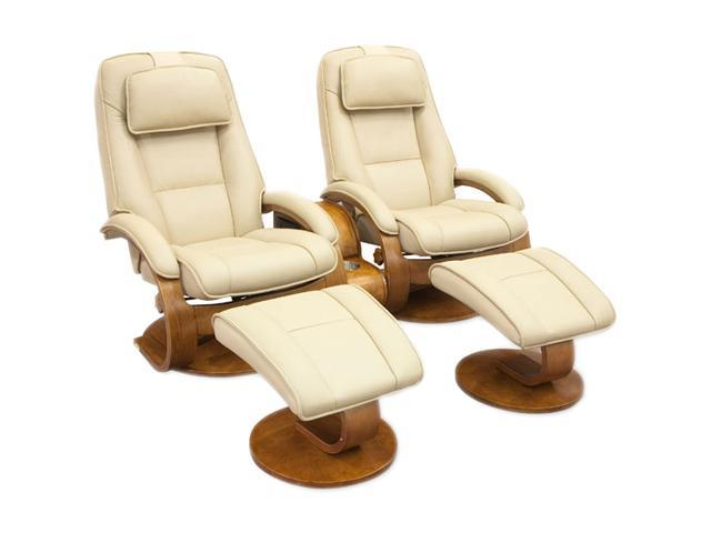 Oslo Collection Bergen Cobblestone Tan Top Grain Leather Swivel, Recliner with Ottoman and Storage Table