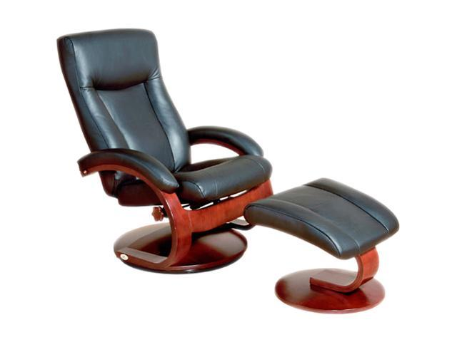 Oslo Collection Hamar Black Top Grain Leather Swivel, Recliner with Ottoman