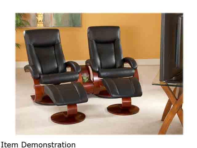 Oslo Collection Hamar Black Top Grain Leather Swivel, Recliner with Ottoman with Theater Table