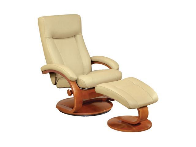 Oslo Collection Hamar Cobblestone Tan Top Grain Leather Swivel, Recliner with Ottoman
