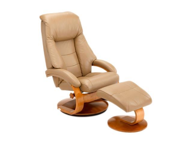 Oslo Collection Mandal Sand Tan Top Grain Leather Swivel, Recliner with Ottoman