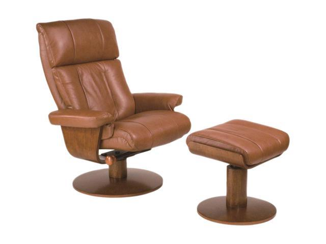 Oslo Collection NORWAY Saddle Brown Top Grain Leather Swivel, Recliner with Ottoman