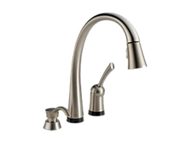DELTA 980T-SSSD-DST Pilar Single Handle Pull-Down Kitchen Faucet with Touch2O Technology and Soap Dispenser Stainless Steel