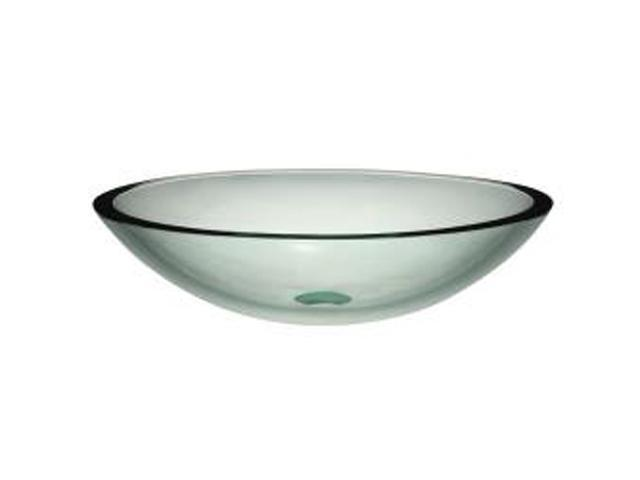 Decolav 1129T-TNG Translucence Oval 19mm Glass Vessel, Transparent Natural Glass